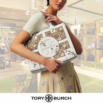 大人気!【Tory Burch】Embroidered Jacquard Quadrant トート