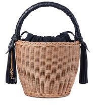 Leather-trimmed wicker tote トートバッグ