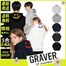 【GRAVER】Back Drawing Smile White Clip Hoodie