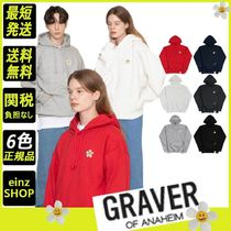 【GRAVER】Flower Dot Embroidery White Clip Hoodie