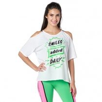 Zumba Smiles Added Daily Cold Shoulder Top Wear It Out White