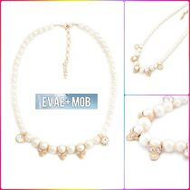 【EVAE+ MOB】SKULL CUBIC CHARMS FAUX PEARL NECKLACE