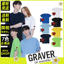 【GRAVER】Heart Smile Sleeve Embroidery White Clip T-Shirt