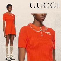 GUCCI Orange Embroidered Sequinned Collar Dress ワンピース