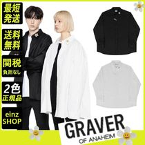 【GRAVER】flower dot embroidery white clip overfit shirt