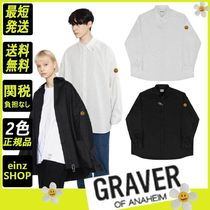 【GRAVER】Dot Smile Embroidery White Clip Overfit Shirt