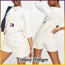 ◆Tommy Jeans◆ダンガリーショートパンツ ロゴ入りサロペット