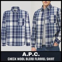 [A.P.C.] CHECK WOOL BLEND FLANNEL SHIRT (送料関税込み)