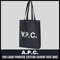 [A.P.C.] SM LOGO PRINTED DENIM TOTE BAG (送料関税込み)