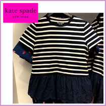 kate spade☆striped mixed-madia eyelet tee☆ボーダーT☆送込
