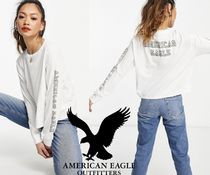 American Eagle Outfitters(アメリカンイーグル) Tシャツ・カットソー 関税・送料込み AMERICAN EAGLE ロゴ ホワイト 長袖 tシャツ