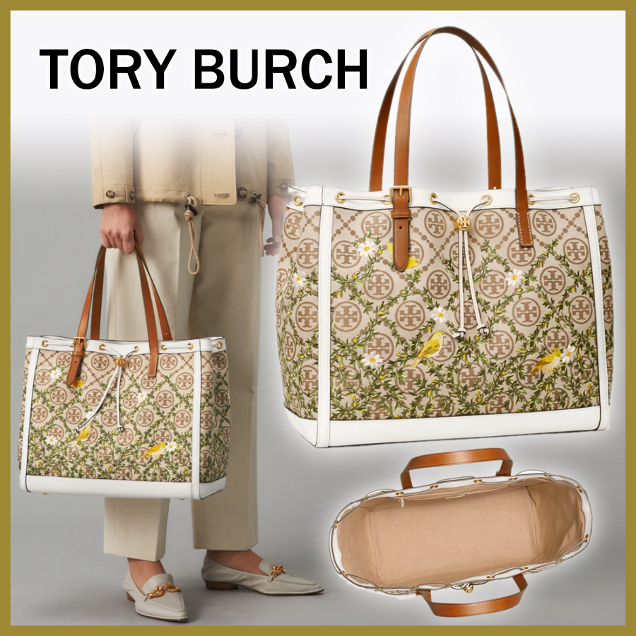 21SS【Tory Burch】T MONOGRAM JACQUARD EMBROIDERED TOTE BAG (Tory Burch/トートバッグ) 80860