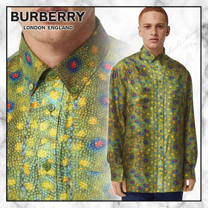 ◆Burberry 21SS 最新作◆Fish-scaleプリント シルクシャツ◆緑
