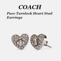 【COACH】Pave Turnlock Heart Stud Earrings ピアス!