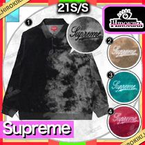 21SS /Supreme Bleached Velour L/S Polo ベロア ポロシャツ