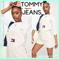 *Tommy Jeans* ダンガリーショートパンツ ロゴ入りサロペット
