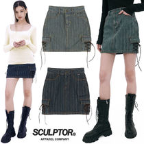 ★SCULPTOR★送料込み 韓国 正規品 Striped Washing Cargo Skirt