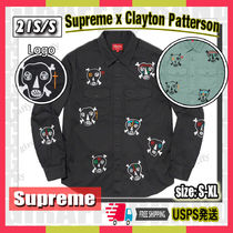 【21SS】SUPREME Clayton Patterson Skulls Embroidered Shirt