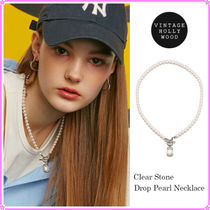 【VINTAGE HOLLYWOOD】Clear Stone drop Pearl Necklace〜2021SS