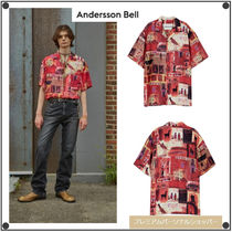 ANDERSSON BELLのBUENO RED OPEN COLLAR SHIRT