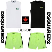 DSQUARED2 WHT&BLK TANK TOP & NEON BOARD SHORTS SET UP 2色