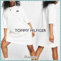 Tommy Jeans  7分丈 Tシャツワンピ ロゴ ホワイト《関送込》
