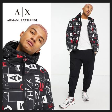 ★送料込★【Armani Exchange】all-over print puffer jacket