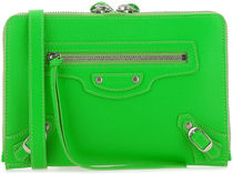 BALENCIAGA☆FLUO GREEN LEATHER NEO CLASSIC POUCH