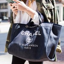 Chanel Deauville Large Tote チェーン付 デニム トートバッグ