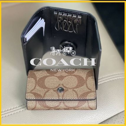 COACH*セール*Five Ring Key Case In Signature Canvas