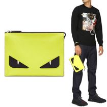 【FENDI】Bag Bugs Monster Leather Clutch イエロー