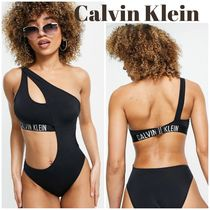 ◆ Calvin Klein ◆ logo cut out ワンショルダー 水着 black