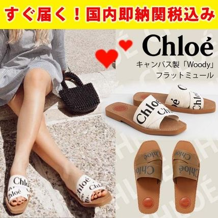 関税送料込国内発送★CHLOE Woody logo-detailed canvas slides