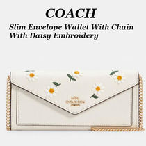 NEW!【COACH】Slim Envelope Wallet With Chain デイジー柄