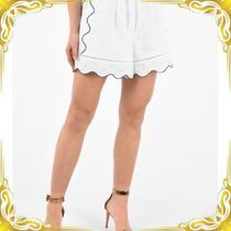 ☆SEAL☆Cotton Embroidered Single Pleat Flared Shorts