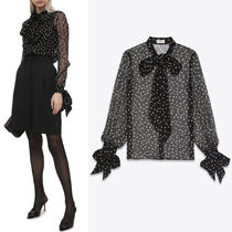 WSL1915 LAVALLIERE-NECK BLOUSE IN DOTTED SILK MUSLIN