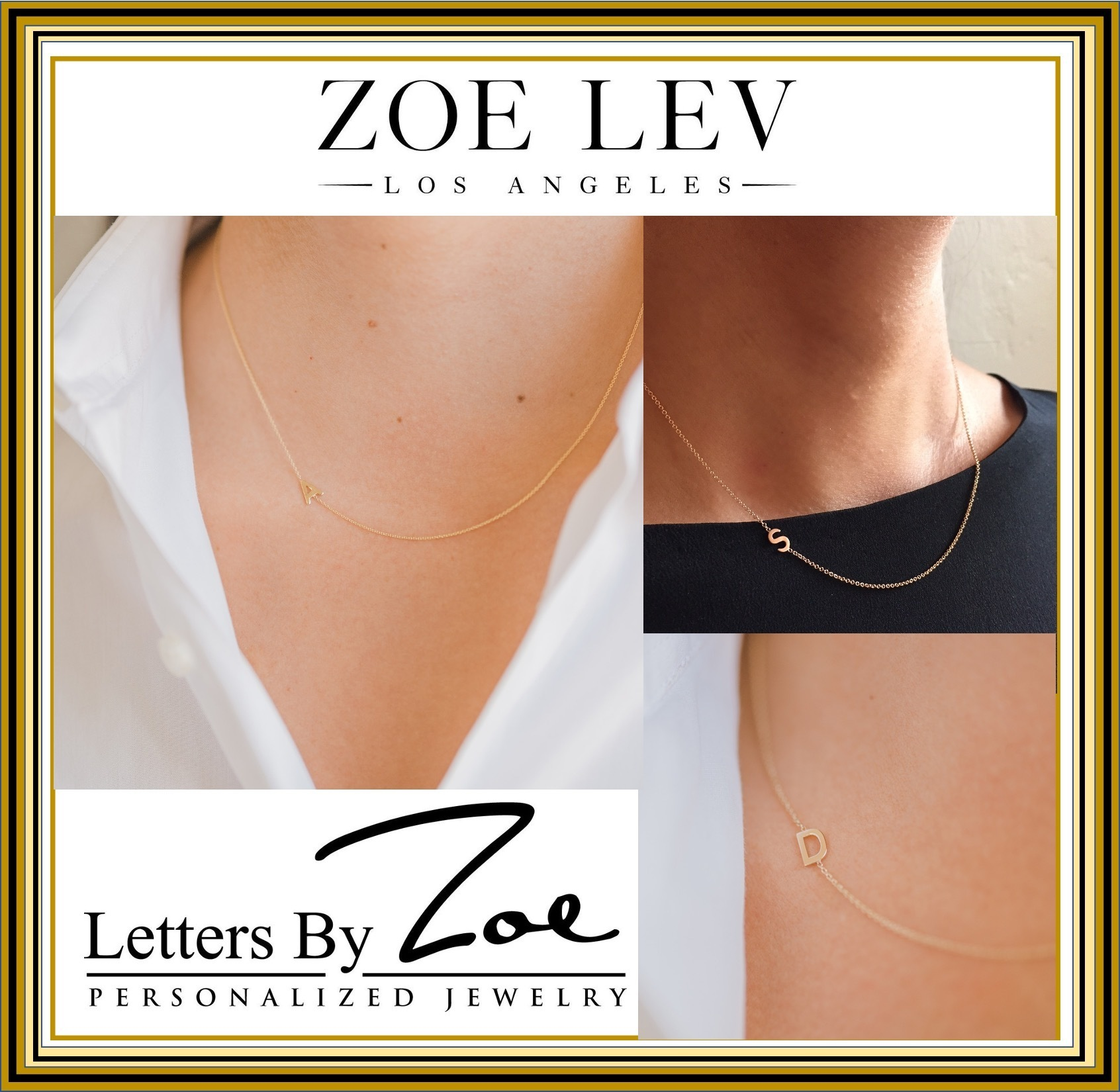 14k Gold Asymmetrical Initial Necklace セレブ愛用 ZOE LEV (ZOE LEV/ネックレス・ペンダント) 67637053