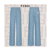 【新作】FENDI Pantalon en chambray bleu clair パンツ