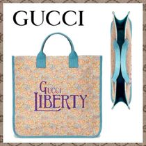GUCCI(グッチ) 子供用トート・レッスンバッグ 大人気! Gucci【直営買付】 GUCCI LIBERTY プリントトートバッグ