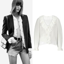 WSL1923 LOOK34  FRILLED TIE BLOUSE IN COTTON VOILE