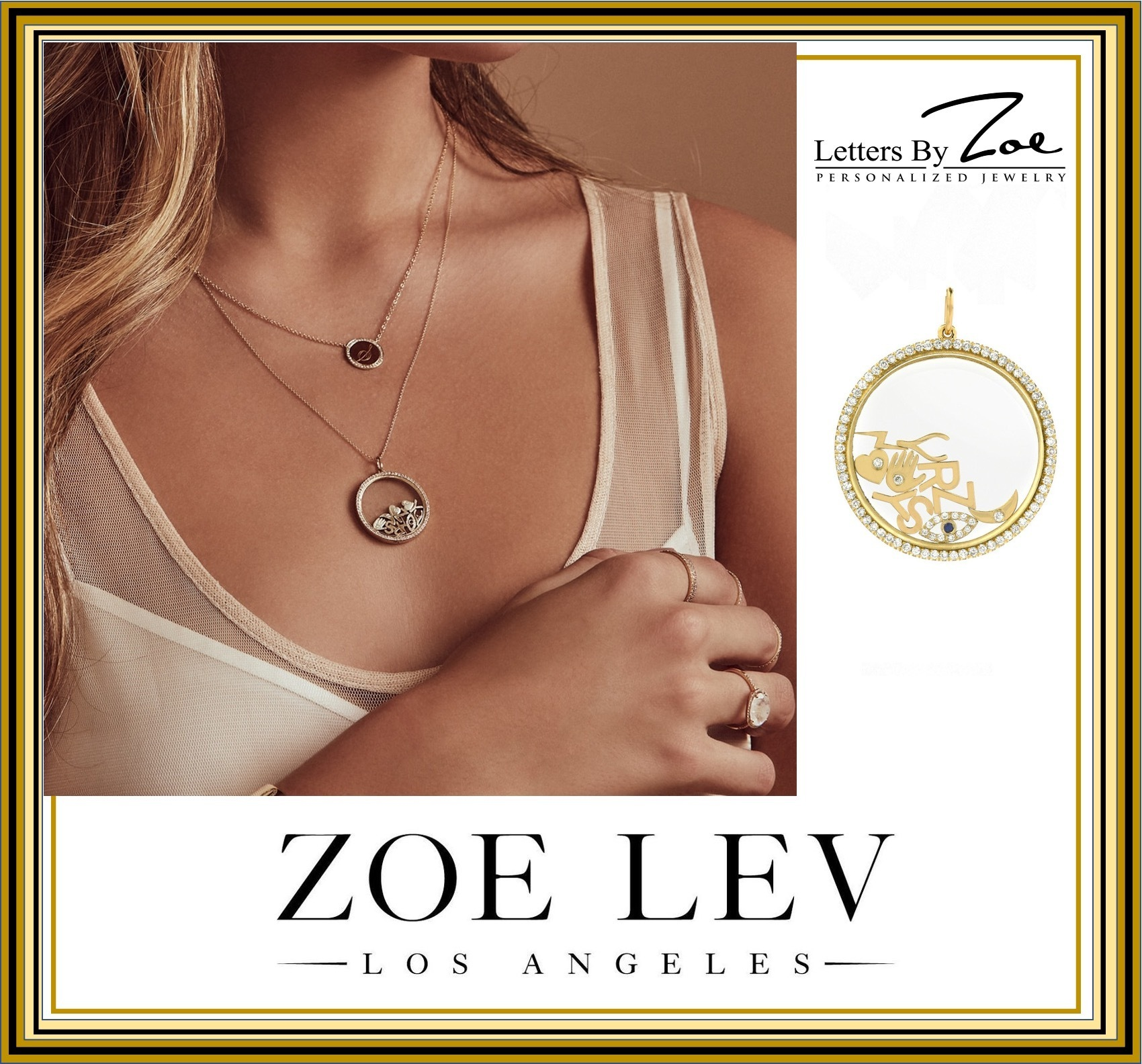 14k Gold Charm Locket Necklaceセレブ愛用 ZOE LEV  jewelry (ZOE LEV/ネックレス・ペンダント) 67686363
