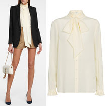 WSL1926 LAVALLIERE-NECK FRILLED SILK BLOUSE