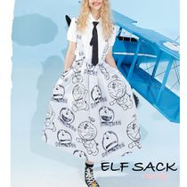 【ELF SACK】ELFSACK×ドラえもん White High Waist Strap Dress
