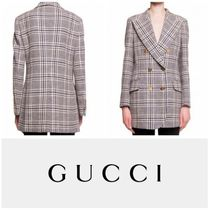 【GUCCI】CHECKED DOUBLE-BREASTED BLAZER 要在庫確認
