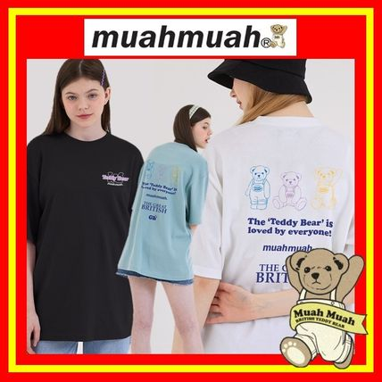 [MUAHMUAH] Triple Bear Printing Half Sleeves T/3色/追跡付