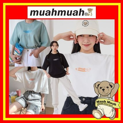 [MUAHMUAH] Middle Logo Bear Half T-shirt/3色/追跡付