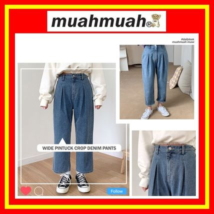 [MUAHMUAH] Wide Pintuck Crop Denim Pants/追跡付