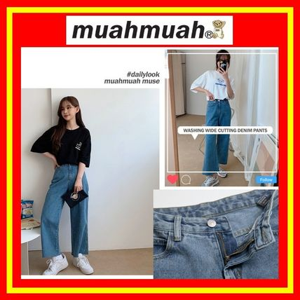 [MUAHMUAH] Washing Wide Cutting Denim Pants/追跡付