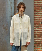 【ANDERSSON BELL] COLLARLESS EMBROIDERY COTTON SHIRTS