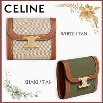 CELINE☆SMALL TRIOMPHE WALLET IN TEXTILE AND CALFSKIN☆送込